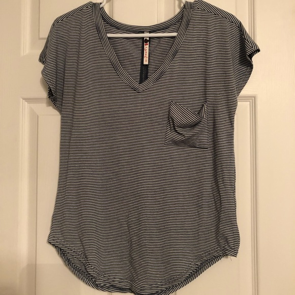 Poof! Tops - Poof T-shirt Small Striped Women's Blue and White